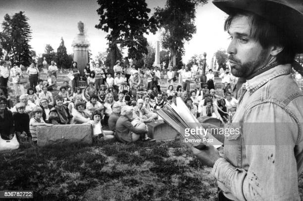 James Kelley Recites from Spoon River to audience nestled among headstones at Riverside Cemetery Credit The Denver Post