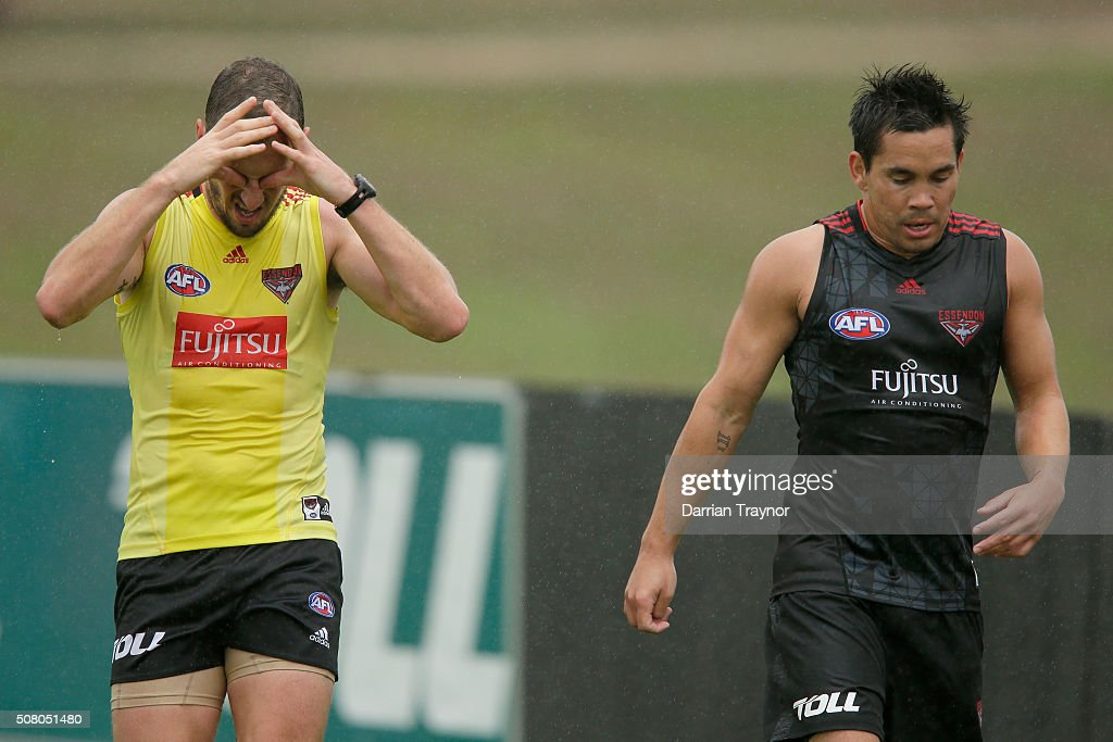 James Kelly and Mathew Stokes train during Essendon Bombers AFL training at True Value Solar Centre on February 3 2016 in Melbourne Australia