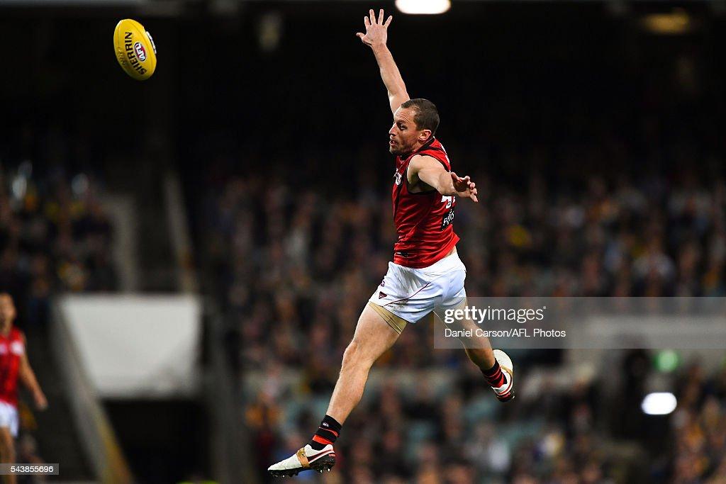 James Kelly of the Bombers flies for the ball during the 2016 AFL Round 14 match between the West Coast Eagles and the Essendon Bombers at Domain Stadium on June 30, 2016 in Perth, Australia.