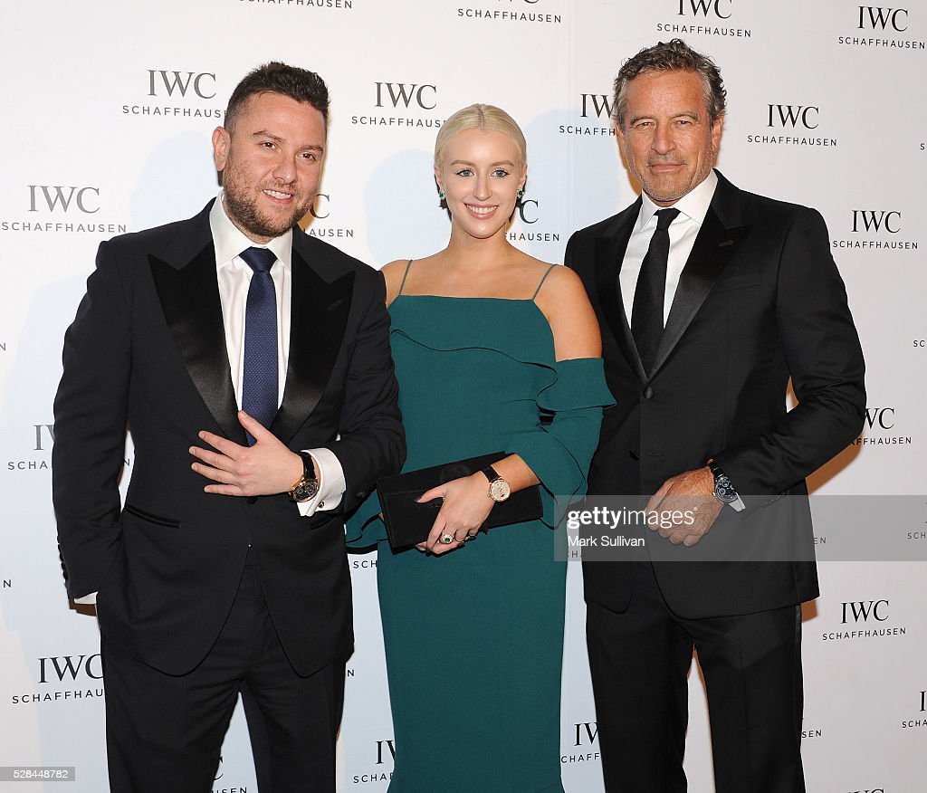 James Kennedy (L) and Mark Bouris (R) attend the launch of IWC Schaffhausen's pilots watch launch at Sydney Theatre Company on May 5, 2016 in Sydney, Australia.