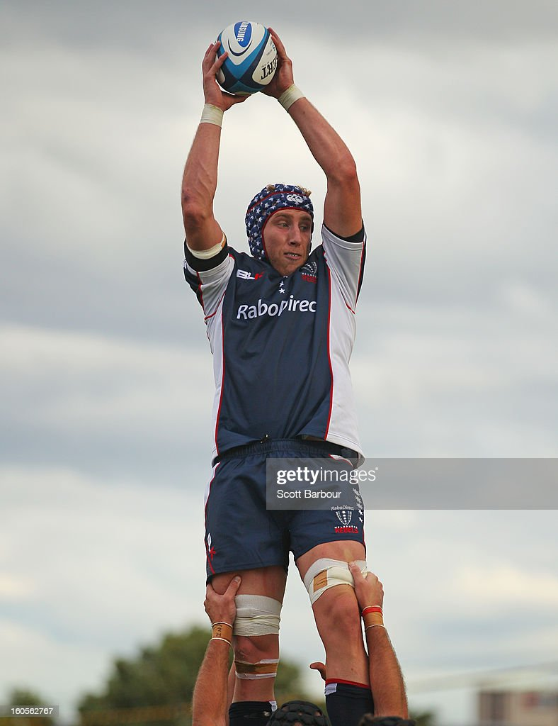 James King of the Rebels wins a lineout during the Super Rugby trial match between the Waratahs and the Rebels at North Hobart Stadium on February 2, 2013 in Hobart, Australia.