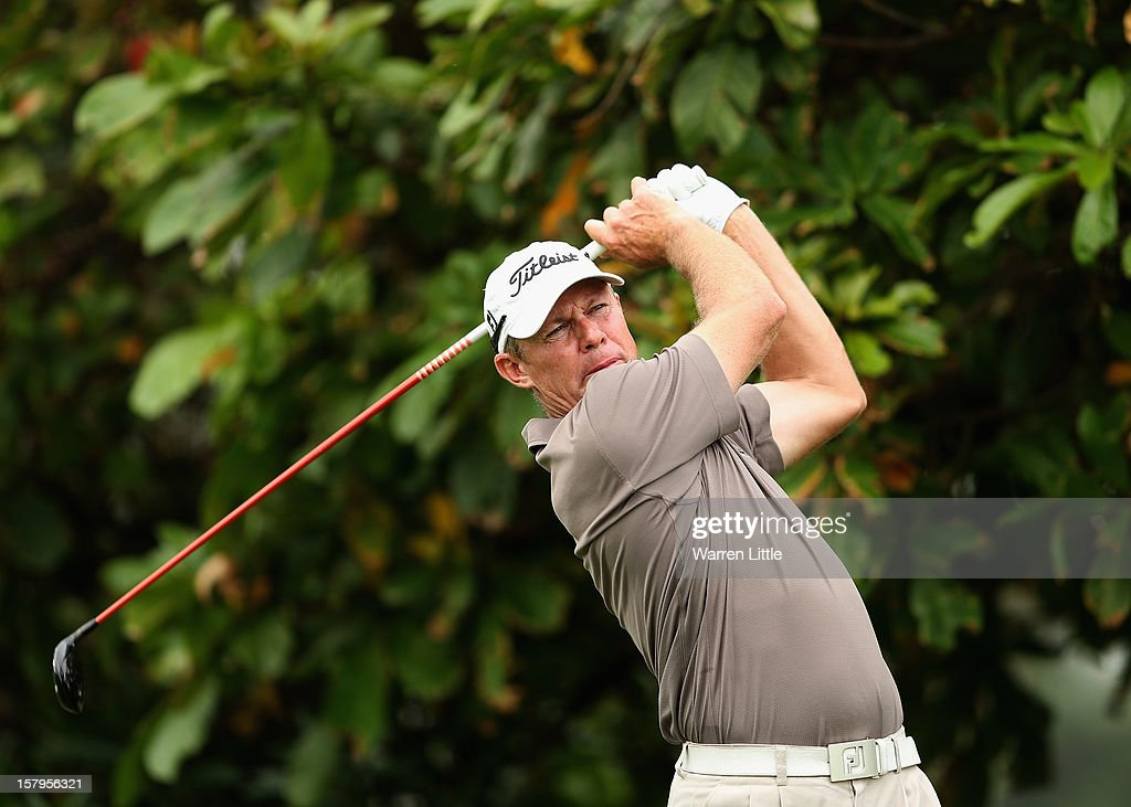James Kingsron of South Africa tees off on the second hole during the first round of The Nelson Mandela Championship presented by ISPS Handa at Royal Durban Golf Club on December 8, 2012 in Durban, South Africa.