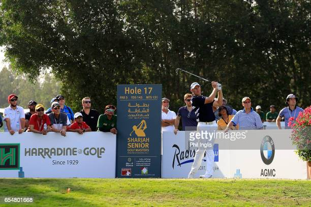James Kingston of South Africa in action during the final round of the Sharjah Senior Golf Masters played at Sharjah Golf Shooting Club on March 18...