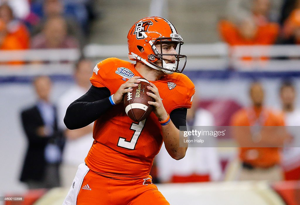 James Knapke of the Bowling Green Falcon drops back to pass during the first quarter of the MAC Championship Game against the Northern Illinois...