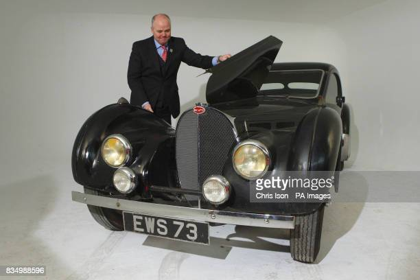 James Knight of Bonhams auctioneers with a rare 1937 Bugatti Type 57S in Hartley Witney Hampshire which will go to auction at Bonhams' Retromobile...