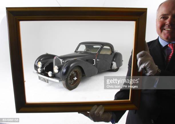 James Knight of Bonhams with a rare 1937 Bugatti Type 57S in Hartley Witney Hampshire which will go to auction at Bonhams' Retromobile sale in Paris...