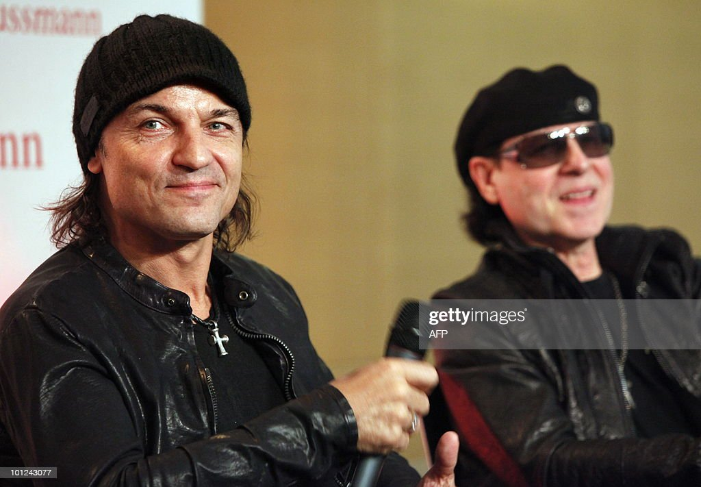 James Kottak (L) and Klaus Meine of the German rock band Scorpions includingaddress a press conference on May 28, 2010 at the Dussmann bookshop in Berlin during the presentation of a new coffee-table book by photographer Marc Theis. The photographer accompanied the band on their world tour from 2007 to 2009.