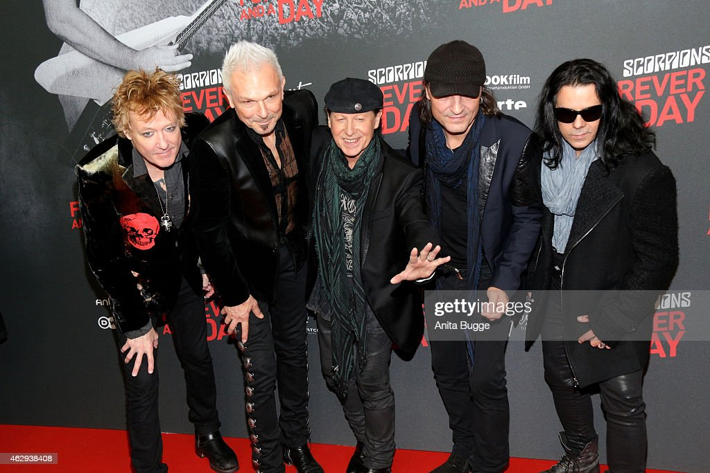 James Kottak, <a gi-track='captionPersonalityLinkClicked' href=/galleries/search?phrase=Rudolf+Schenker&family=editorial&specificpeople=710263 ng-click='$event.stopPropagation()'>Rudolf Schenker</a>, <a gi-track='captionPersonalityLinkClicked' href=/galleries/search?phrase=Klaus+Meine&family=editorial&specificpeople=240345 ng-click='$event.stopPropagation()'>Klaus Meine</a>, <a gi-track='captionPersonalityLinkClicked' href=/galleries/search?phrase=Matthias+Jabs&family=editorial&specificpeople=710280 ng-click='$event.stopPropagation()'>Matthias Jabs</a> and Pawel Maciwoda of The Scorpions attend the premiere of 'Forever and A Day' at Kulturbrauerei on February 7, 2015 in Berlin, Germany.