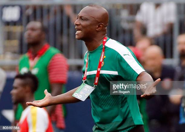James Kwesi Appiah head coach of Ghana reacts in the second half during an international friendly between USA and Ghana at Pratt Whitney Stadium on...