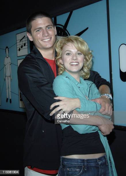 James Lafferty and Hilarie Burton during Wilmer Valderrama Danny Masterson Hilarie Burton and James Lafferty Visit MTV's 'TRL' May 17 2005 at MTV...