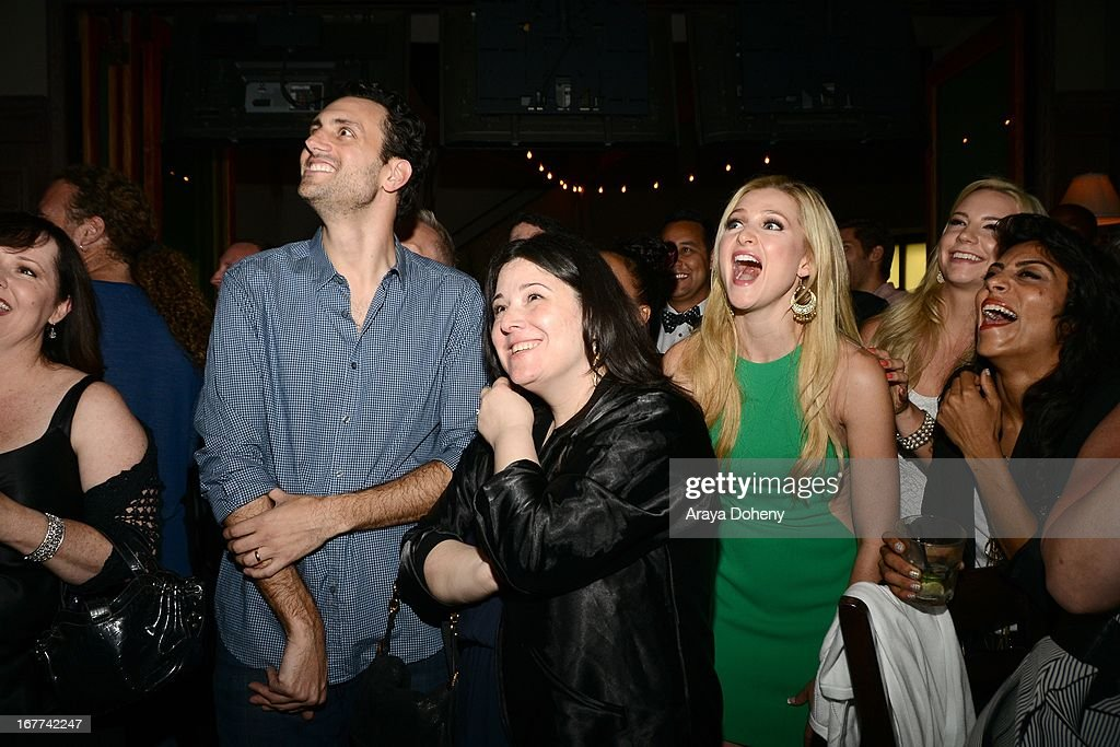 James LaRosa, Maggie Malina and Katherine Bailess attend VH1's 'Hit the Floor' Wrap Party on April 28, 2013 in Los Angeles, California.
