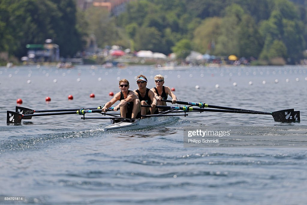 James Lassche, Matthew Dunham, Alistair Bond and James Hunter of New Zealand compete in the Lightweight Men's Four heats during day 1 of the 2016 World Rowing Cup II at Rotsee on May 27, 2016 in Lucerne, Switzerland.