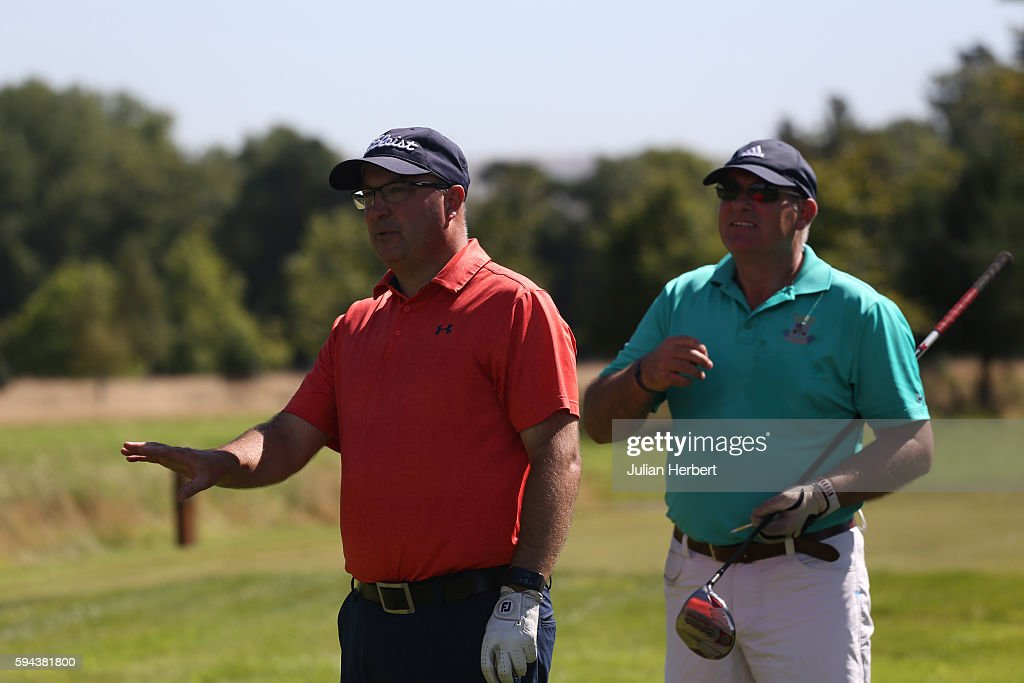 James Lee and Robert Addicott of Caerphilly Golf Club on a tee during The PGA ProCaptain South West Qualifier at Bowood Golf Course on August 23 2016...
