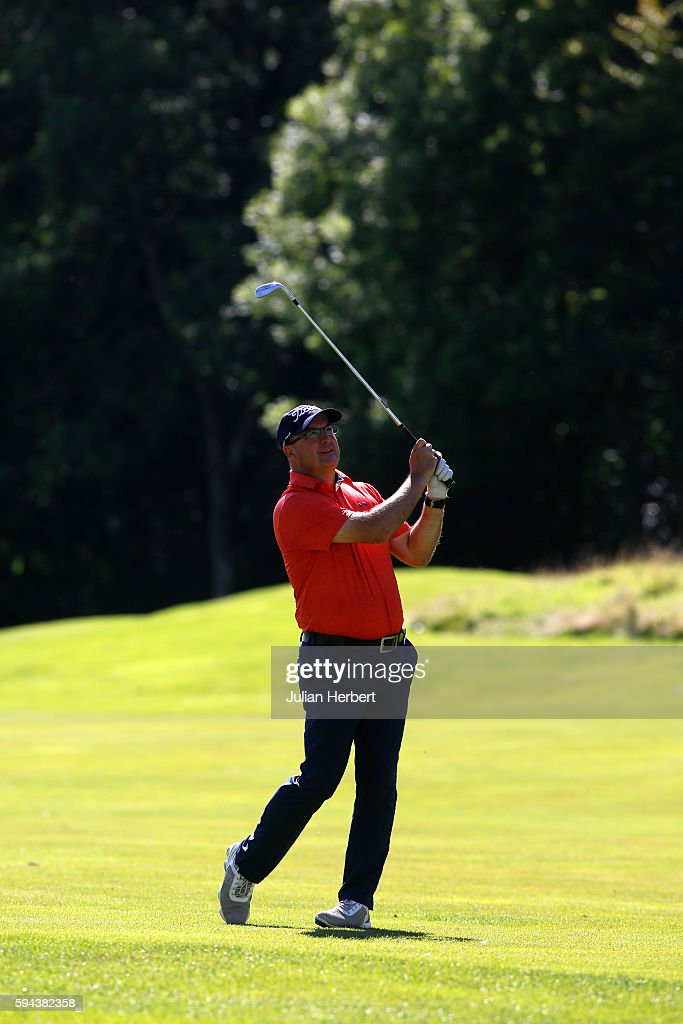 James Lee of Caerphilly Golf Club plays a shot during The PGA ProCaptain South West Qualifier at Bowood Golf Course on August 23 2016 in Chippenham...
