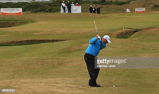 James Lee of Caerphilly plays a shot from the 18th fairway during the Glenmuir PGA Professional Championship at Dundonald Links on June 19 2009 in...