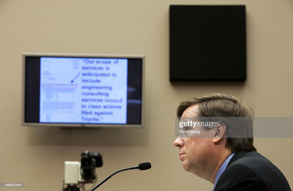 James Lentz, president and chief operating officer of Toyota Motor Sales USA Inc., testifies at a hearing of the House Energy and Commerce Subcommittee on Oversight and Investigations in Washington, D.C., U.S., on Thursday, May 20, 2010. Toyota Motor Corp. vehicles that were properly repaired for unintended acceleration show no evidence of flaws to warrant another defect probe, U.S. auto-safety regulator David Strickland said. Photographer: Joshua Roberts/Bloomberg via Getty Images