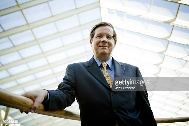 James Lentz president and COO of Toyota Motor Sales US poses for a picture in the atrium of his headquarters in Torrance California USA on October 18...
