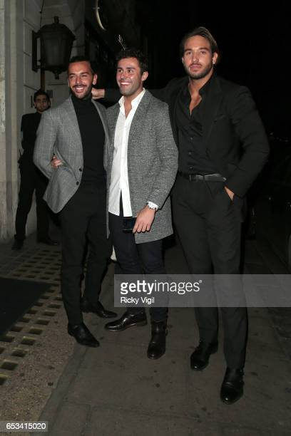 James Lock and Pete Wicks on a night out leaving Nobu Berkeley St restaurant on March 14 2017 in London England