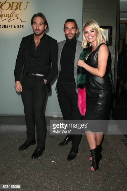 James Lock Pete Wicks and Chloe Sims on a night out leaving Nobu Berkeley St restaurant on March 14 2017 in London England