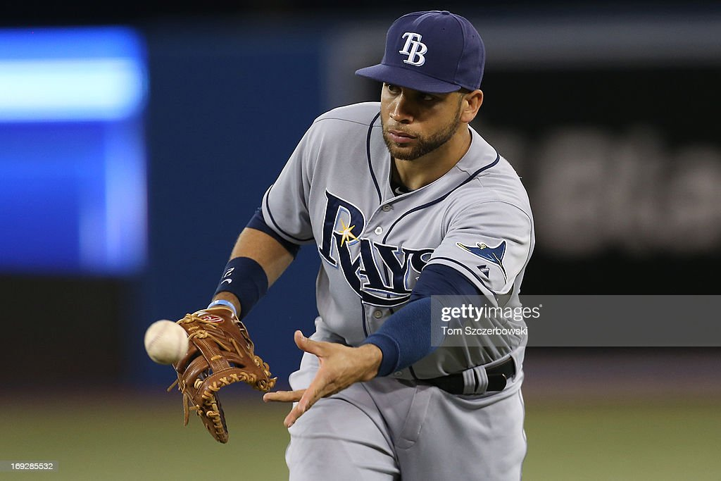 <a gi-track='captionPersonalityLinkClicked' href=/galleries/search?phrase=James+Loney&family=editorial&specificpeople=636293 ng-click='$event.stopPropagation()'>James Loney</a> #21 flips the ball to <a gi-track='captionPersonalityLinkClicked' href=/galleries/search?phrase=Jeremy+Hellickson&family=editorial&specificpeople=2364859 ng-click='$event.stopPropagation()'>Jeremy Hellickson</a> #58 of the Tampa Bay Rays in the sixth inning to get the baserunner at first base during MLB game action against the Toronto Blue Jays on May 22, 2013 at Rogers Centre in Toronto, Ontario, Canada.