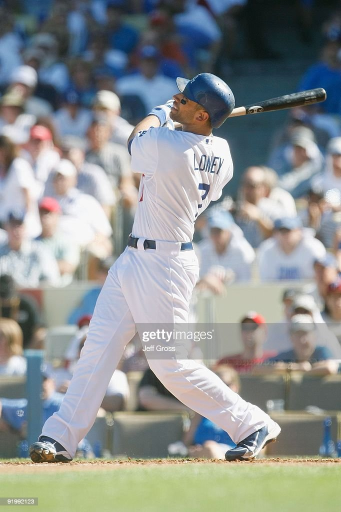 <a gi-track='captionPersonalityLinkClicked' href=/galleries/search?phrase=James+Loney&family=editorial&specificpeople=636293 ng-click='$event.stopPropagation()'>James Loney</a> #7 of the Los Angeles Dodgers bats against the Philadelphia Phillies during Game Two of the NLCS during the 2009 MLB Playoffs at Dodger Stadium on October 16, 2009 in Los Angeles, California.