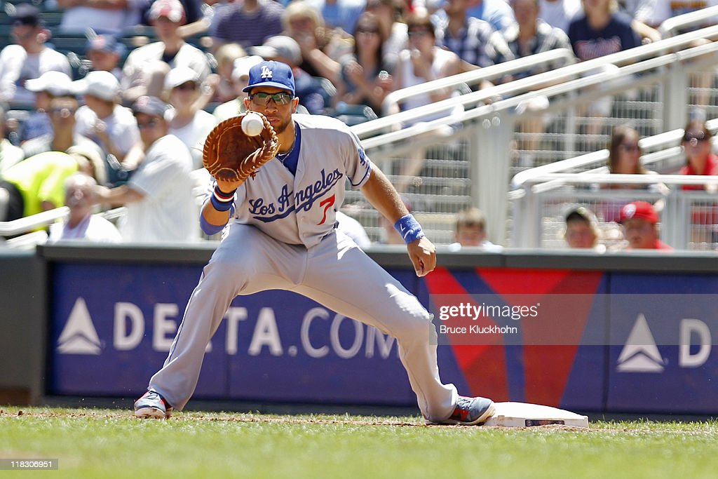 <a gi-track='captionPersonalityLinkClicked' href=/galleries/search?phrase=James+Loney&family=editorial&specificpeople=636293 ng-click='$event.stopPropagation()'>James Loney</a> #7 of the Los Angeles Dodgers catches a throw to put out a member of the Minnesota Twins on June 29, 2011 at Target Field in Minneapolis, Minnesota. The Twins won 1-0.