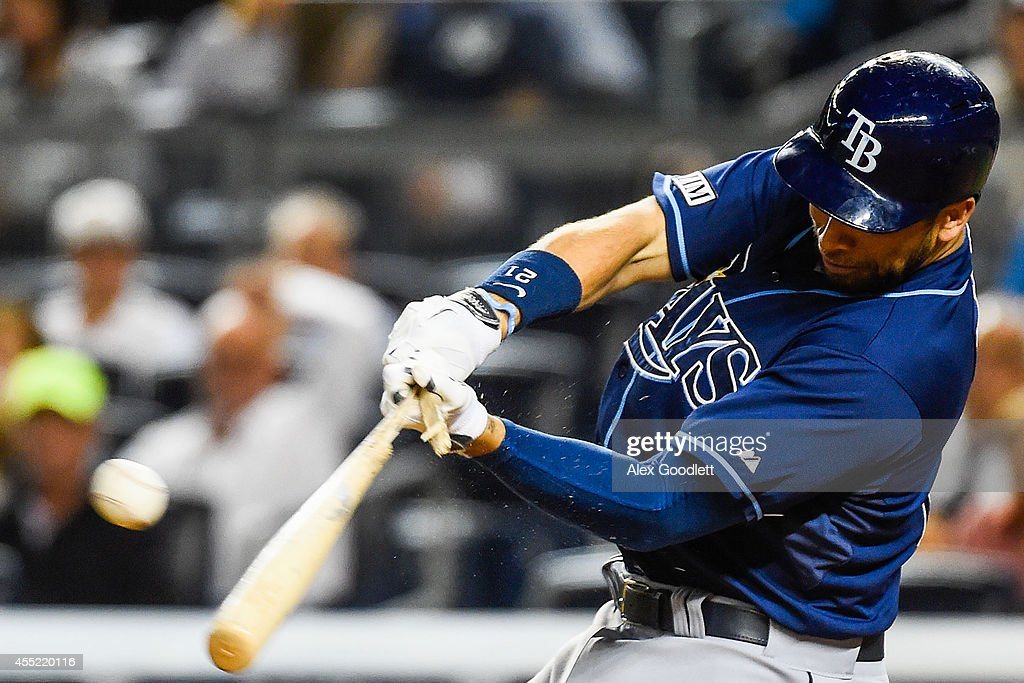 <a gi-track='captionPersonalityLinkClicked' href=/galleries/search?phrase=James+Loney&family=editorial&specificpeople=636293 ng-click='$event.stopPropagation()'>James Loney</a> #21 of the Tampa Bay Rays breaks his bat during a game against the New York Yankees at Yankee Stadium on September 10, 2014 in the Bronx borough of New York City.