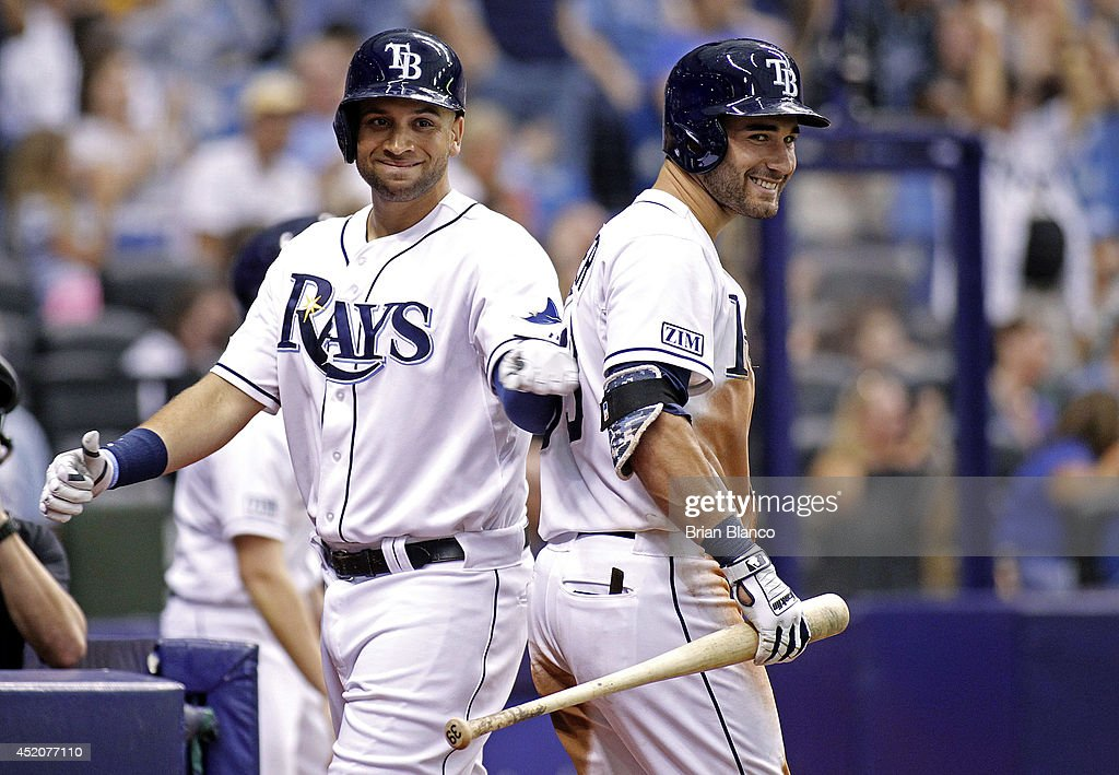 <a gi-track='captionPersonalityLinkClicked' href=/galleries/search?phrase=James+Loney&family=editorial&specificpeople=636293 ng-click='$event.stopPropagation()'>James Loney</a> #21 of the Tampa Bay Rays (L) celebrates with teammate <a gi-track='captionPersonalityLinkClicked' href=/galleries/search?phrase=Kevin+Kiermaier&family=editorial&specificpeople=12507596 ng-click='$event.stopPropagation()'>Kevin Kiermaier</a> #39 after scoring off of a bases-loaded walk of teammate Cole Figueroa during the sixth inning of a game against the Toronto Blue Jays on July 12, 2014 at Tropicana Field in St. Petersburg, Florida.