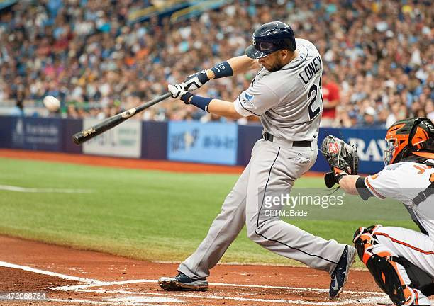 James Loney of the Tampa Bay Rays connects on a home run off WeiYin Chen of the Baltimore Orioles in the second inning on May 3 2015 at Tropicana...