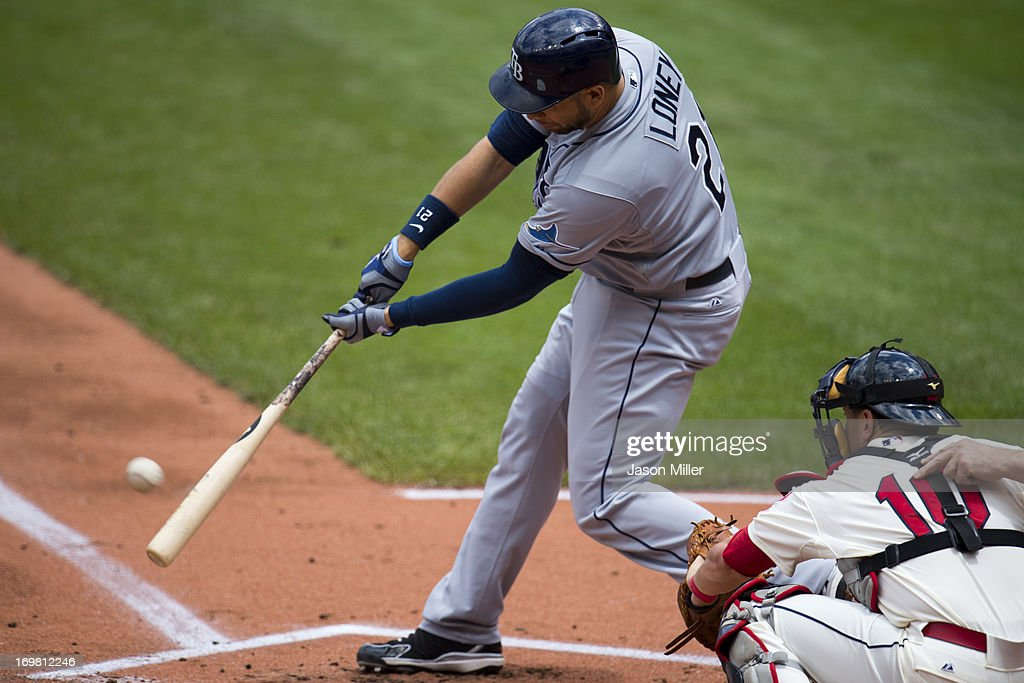 <a gi-track='captionPersonalityLinkClicked' href=/galleries/search?phrase=James+Loney&family=editorial&specificpeople=636293 ng-click='$event.stopPropagation()'>James Loney</a> #21 of the Tampa Bay Rays hits an RBI double during the first inning against the Cleveland Indians at Progressive Field on June 2, 2013 in Cleveland, Ohio.