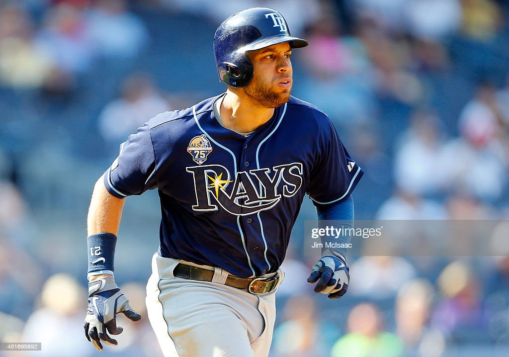 James Loney #21 of the Tampa Bay Rays in action against the New York Yankees at Yankee Stadium on July 2, 2014 in the Bronx borough of New York City. The Rays defeated the Yankees 6-3.