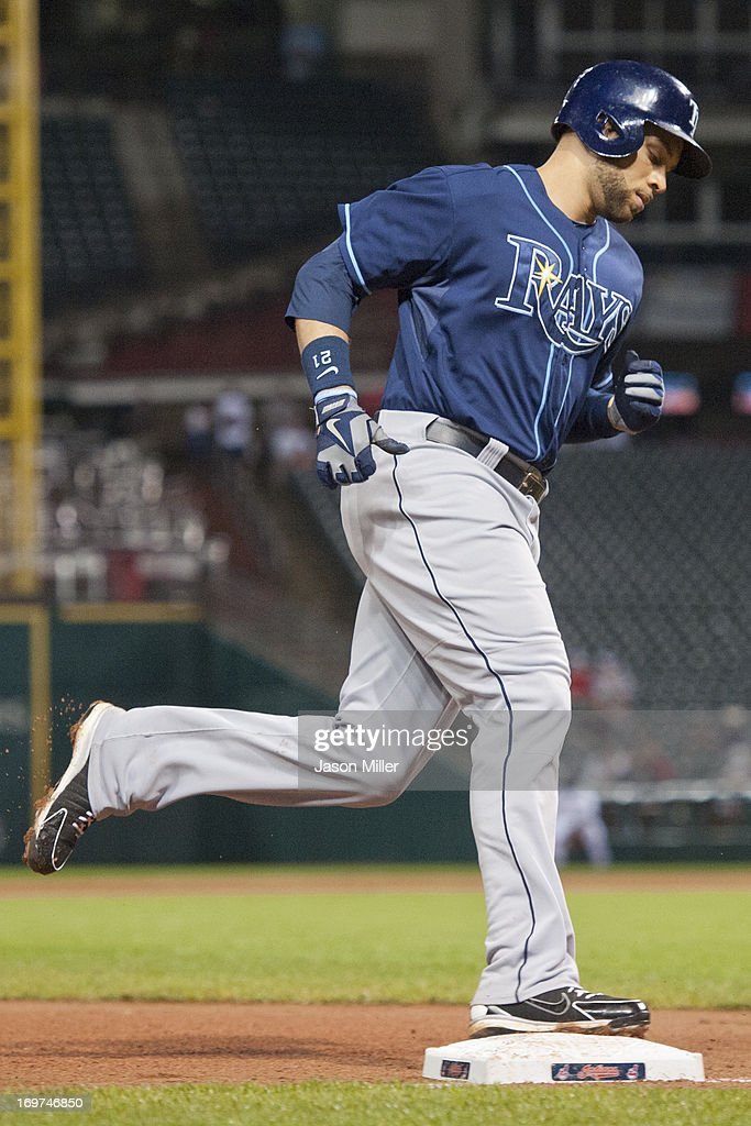 <a gi-track='captionPersonalityLinkClicked' href=/galleries/search?phrase=James+Loney&family=editorial&specificpeople=636293 ng-click='$event.stopPropagation()'>James Loney</a> #21 of the Tampa Bay Rays rounds the bases after hitting a two run home run during the third inning against the Cleveland Indians at Progressive Field on June 1, 2013 in Cleveland, Ohio.