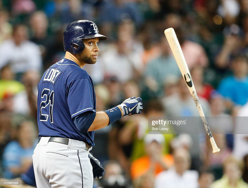 James Loney #21 of the Tampa Bay Rays strikes out in the first inning against the Houston Astros at Minute Maid Park on July 1, 2013 in Houston, Texas.