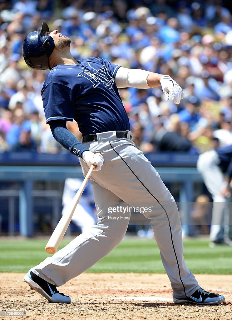 <a gi-track='captionPersonalityLinkClicked' href=/galleries/search?phrase=James+Loney&family=editorial&specificpeople=636293 ng-click='$event.stopPropagation()'>James Loney</a> #21 of the Tampa Bay Rays watches his pop up during the game against the Los Angeles Dodgers at Dodger Stadium on August 10, 2013 in Los Angeles, California.