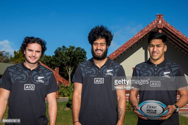 James Lowe Akira Ioane and Rieko Ioane of the New Zealand Maori All Blacks pose during the Dove MenCare British Irish Lions Appearance at...