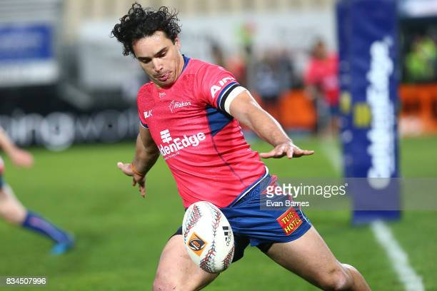 James Lowe of Tasman during the Mitre 10 Cup round one match between Tasman and Canterbury at Trafalgar Park on August 18 2017 in Nelson New Zealand
