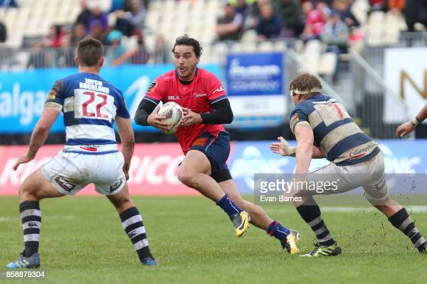 James Lowe of Tasman during the round eight Mitre 10 Cup match between Tasman and Auckland at Trafalgar Park on October 8 2017 in Nelson New Zealand