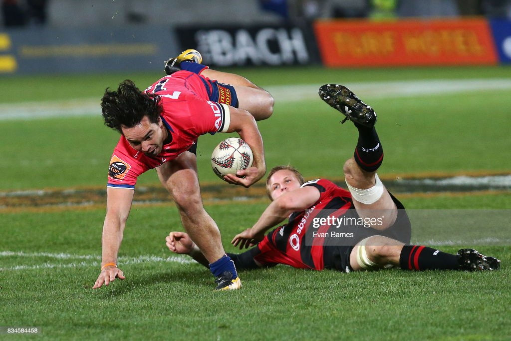 James Lowe of Tasman is tackled during the during the Mitre 10 Cup round one match between Tasman and Canterbury at Trafalgar Park on August 18, 2017 in Nelson, New Zealand.