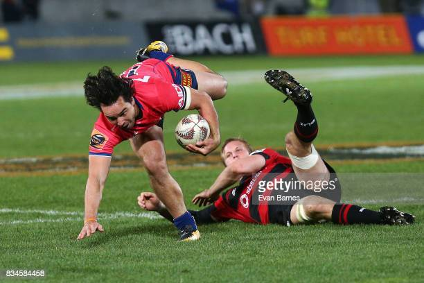 James Lowe of Tasman is tackled during the during the Mitre 10 Cup round one match between Tasman and Canterbury at Trafalgar Park on August 18 2017...