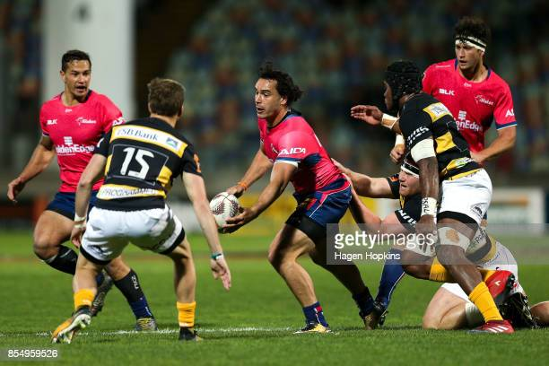James Lowe of Tasman is tackled during the round seven Mitre 10 Cup match between Taranaki and Tasman at Yarrow Stadium on September 28 2017 in New...