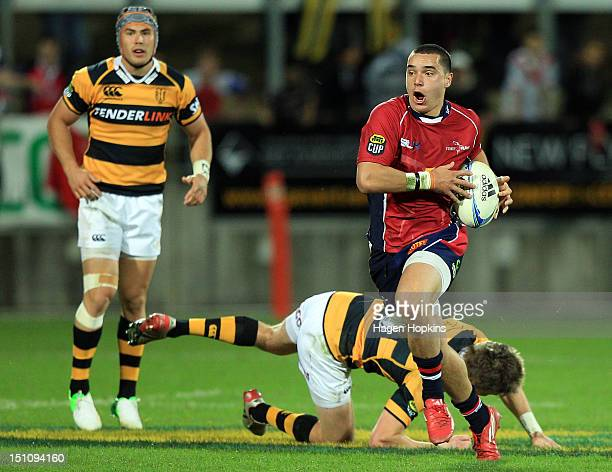 James Lowe of Tasman makes a break during the round three ITM Cup match between Taranaki and Tasman at Yarrow Stadium on September 1 2012 in New...
