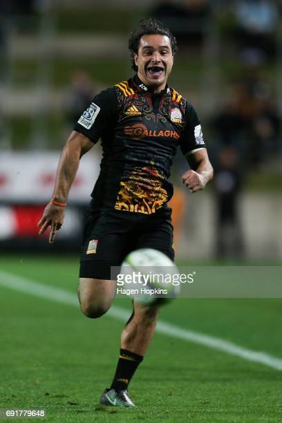 James Lowe of the Chiefs chases a loose ball during the round 15 Super Rugby match between the Chiefs and the Waratahs at Waikato Stadium on June 3...