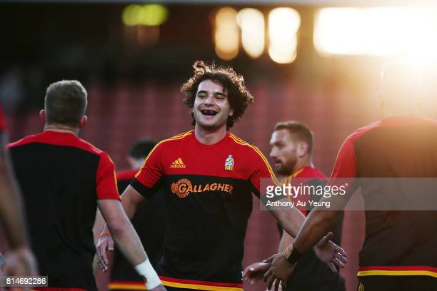 James Lowe of the Chiefs during warmup prior to the round 17 Super Rugby match between the Chiefs and the Brumbies at Waikato Stadium on July 15 2017...