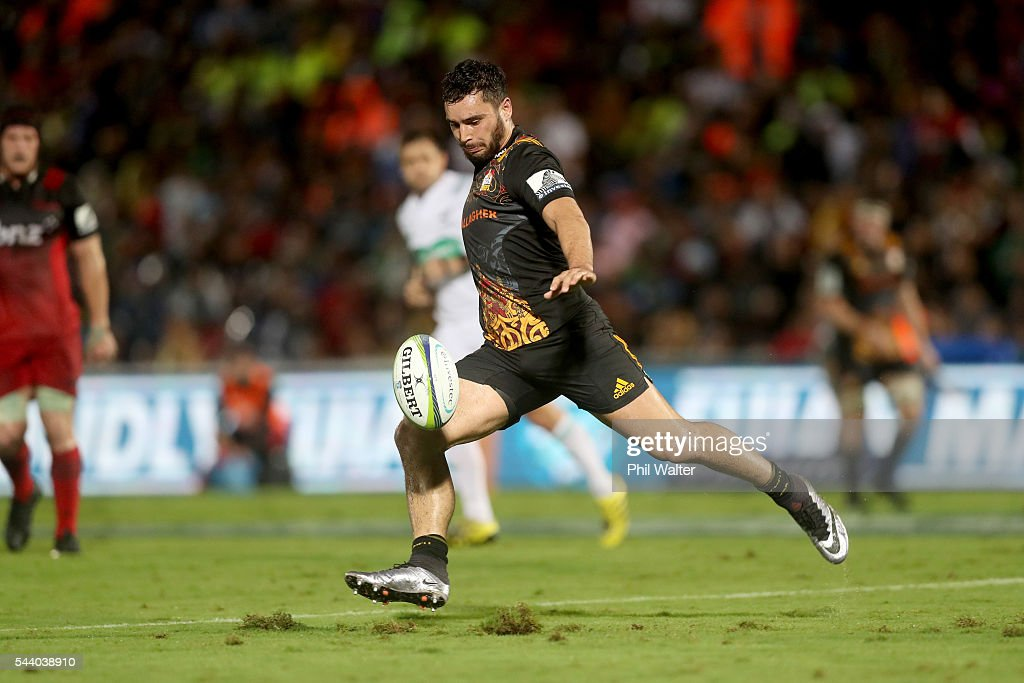 James Lowe of the Chiefs kicks ahead during the round 15 Super Rugby match between the Chiefs and the Crusaders at ANZ Stadium on July 1, 2016 in Suva, Fiji.