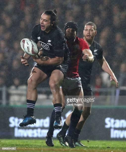 James Lowe of the Maori catches the ball during the match between the New Zealand Maori and the British Irish Lions at Rotorua International Stadium...
