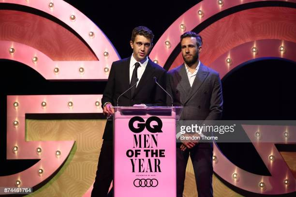 James Lyell and Hugo Stuart Gruzman of Flight Facilities present the award for Band of the Year during the GQ Men Of The Year Awards Ceremony at The...