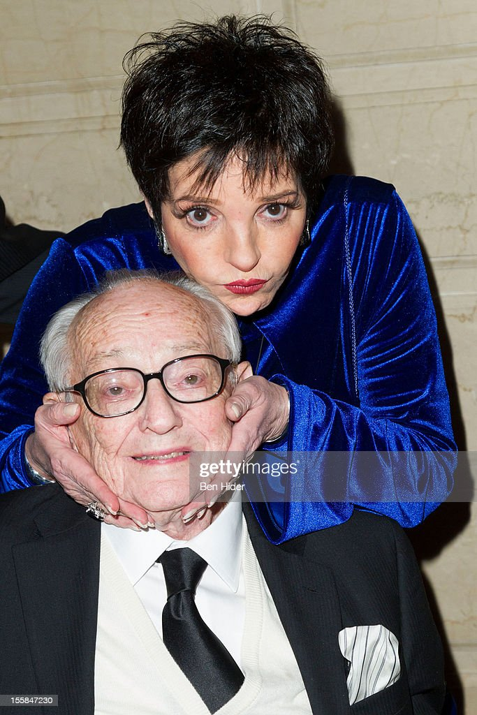 James L. Nederlander and actress <a gi-track='captionPersonalityLinkClicked' href=/galleries/search?phrase=Liza+Minnelli&family=editorial&specificpeople=121547 ng-click='$event.stopPropagation()'>Liza Minnelli</a> attend the 2012 Living Landmarks Celebration at The Plaza on November 8, 2012 in New York City.