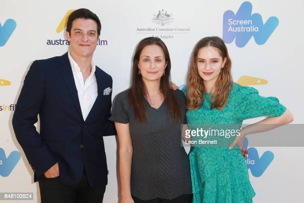 James Mackay Kate Marks and Ashleigh Cummings attends he 2017 Australian Emmy Nominee Sunset Reception on September 16 2017 in Beverly Hills...