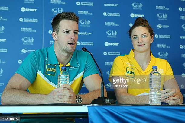 James Magnussen and Cate Campbell speak to media during the Australian Pan Pacs Squad press conference at the Gold Coast Aquatic Centre on August 19...