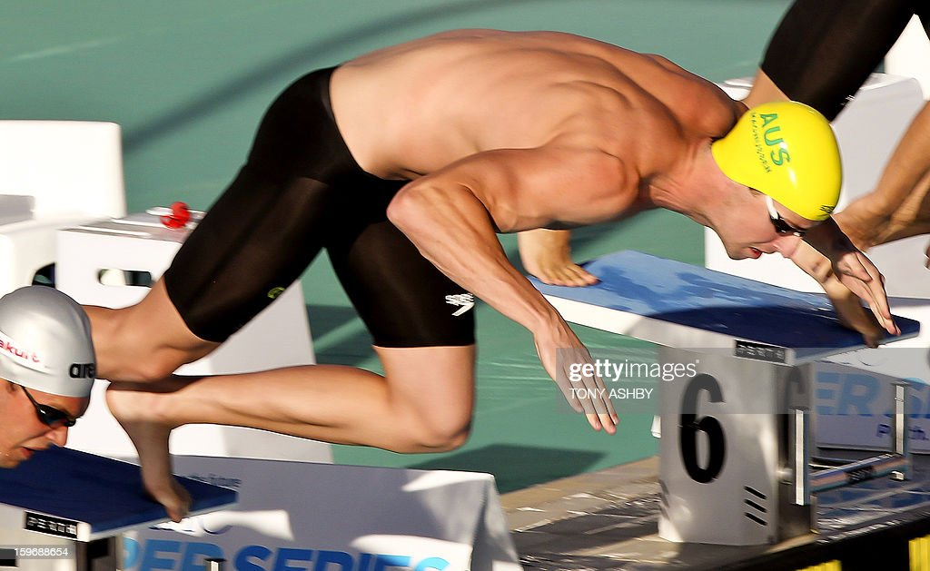 James Magnussen of Australia competes in the men's 100 metres freestyle race at the Aquatic Super Series in Perth on January 18, 2013. AFP PHOTO/Tony ASHBY IMAGE